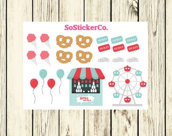 County Fair Stickers, Summer Stickers, Carnival Stickers, Ferris Wheel, State Fair, Stickers for ECLP, Stickers for Erin Condren #DC12
