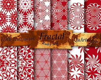 Fractal Paper Digital: Pattern Chaos Theory, Geometry Graphics, JPEG, PNG, Ruby red and white, inverse, printable on QuartCrafts