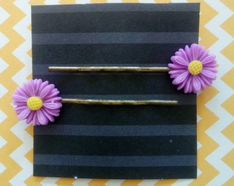 Girl's Flower Hair Clips - Bobby Pins - Purple - Daisy