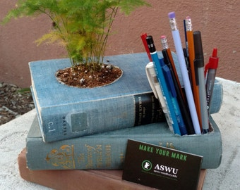 Office / Home up-cycled stacked books: Planter, pen holder, card holder.