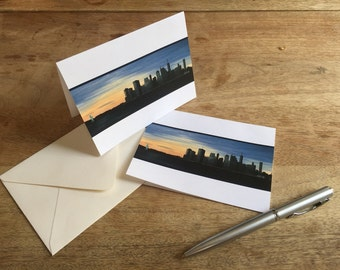 NYC at Sunset - set of beautiful handmade cards