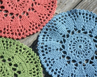Cotton doilies Grandma gift Round knit Table mat French country cottage chic Vintage Coaster Coral gift green gift for mom rustic home decor