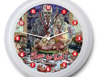 "Zombie Banquet Wall Clock - ""Time to Eat!"" 9"" Clocks"