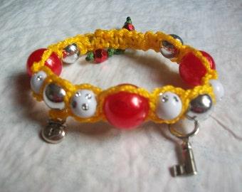 Braided yellow summer bracelet