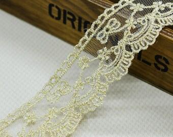 "20 yard 4cm 1.57"" wide gold mesh embroidery lace trim ribbon L22K510 free ship"