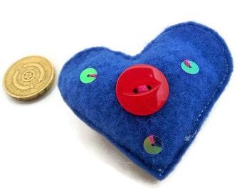 Handmade Blue Felt Heart Red button Brooch with Sequins