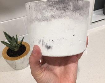 Large Marbled Concrete Pot