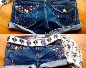 Pirate Loot, Studded Blue Denim Shorts Size 10