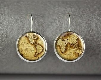 World Map earrings, Antique World Map earrings, Vintage Globe earrings