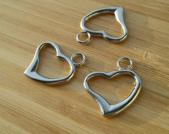 8 heart pendants heart charms in silver
