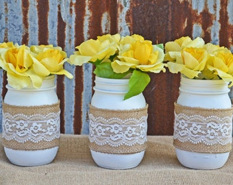 Elegant White Burlap and Lace Mason Jar Set for Rustic Home Decor and Wedding, Baby Shower, Bridal Shower, and Party Centerpieces