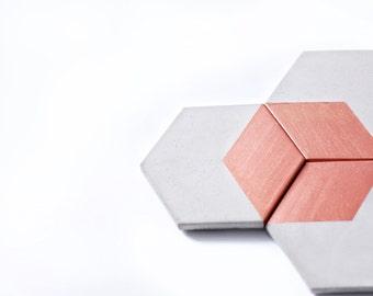 HEX Copper Concrete Coaster