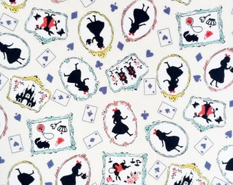 "Alice's Adventures in Wonderland fabric printed in Japan 50cm L ×   54cm W (Approx. 20""×21.6"")"