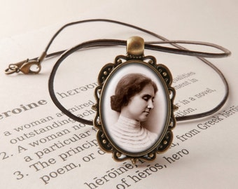 Helen Keller Pendant Necklace - Helen Keller Day Jewelry, Heroine Pendants, Vintage Necklace, Helen Keller Jewellery