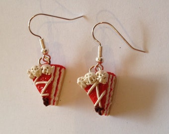 Earrings red Cake with topping, miniature food