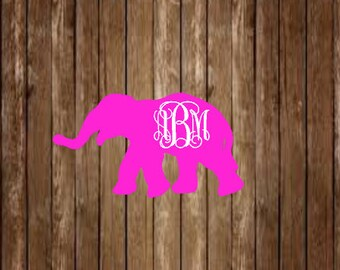 Elephant Monogram Decal-Elephant Decal-Monogram Decal-Custom Decal-Custom Monogram-Yeti Decal-Laptop Decal-Elephant-Animal Decal-Car Decal