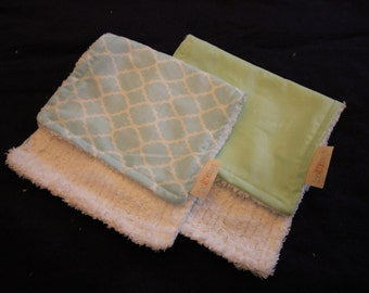 Blue Geometric and Green Burp Cloths
