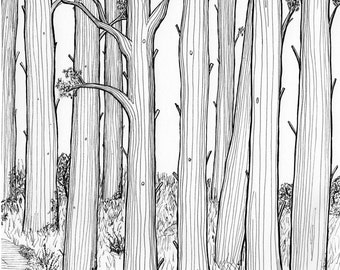 Wall art, tree picture, black and white art, Woodland scene, Forest illustration, wildwood, pine tree, pen and ink, art print, Tolkien