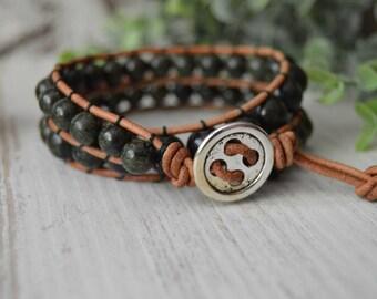 Leather wrap bracelet, Serpentine, double wrap, leather, wrap, bracelet,