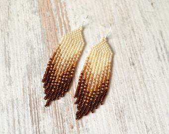 Long beaded earrings Beaded earrings Seed bead earrings Black Rad Native American Style