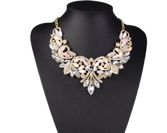 Beautiful gold and white statement necklace