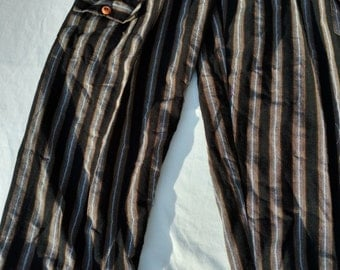 Black Brown Plus Sized Stripe Pants