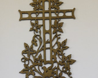 Cross with dove and vines