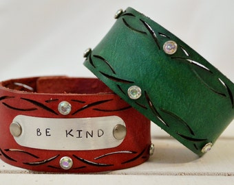 Cross Cut Leather Cuff Bracelet