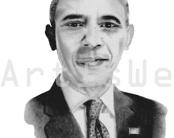 Obama Painting, Obama Art Print, Original Art Print, President Barack Obama, Black Art