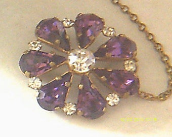 Antique Victorian Purple Fauceted Teardrop Stone and safety chain