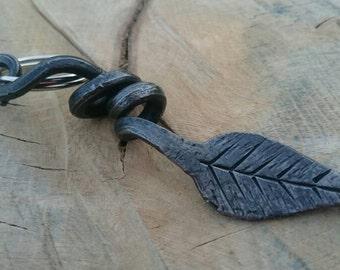 Hand forged leaf key ring, keychain