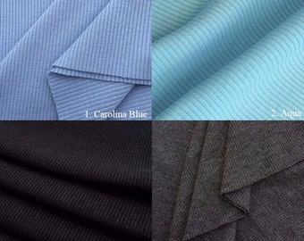 2x1 Rib Knit Fabric (Wholesale Price Available By the Bolt) USA Made Premium Quality - 2104PC - 1 Yard