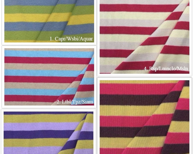 100% Cotton Striped 1 x 1 Rib Knit Fabric - 4001CS