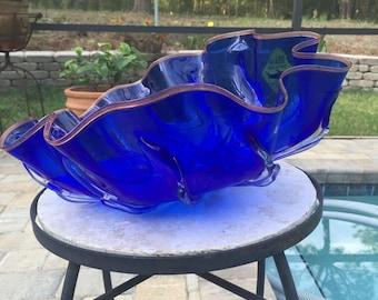 Blue Art Glass Bowl St. John Hand blown