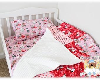 Baby Girl Crib Bedding Set Cotton Patchwork Toddler Comforter Blanket Fitted Sheet Pillow Crib Bedding Ensemble Heart Dogs