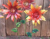 Glittering Flower Garden Stakes, Metal Garden Stakes, Yard decoration, Metal Flower, Metal Art, Garden Decor