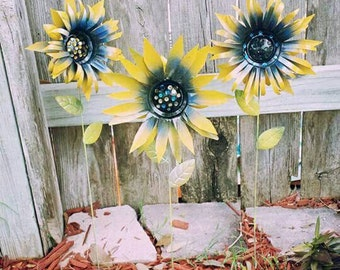 Metal Flower Garden Stake, Sunflower Garden Stakes Yard Decoration, Metal Garden Art