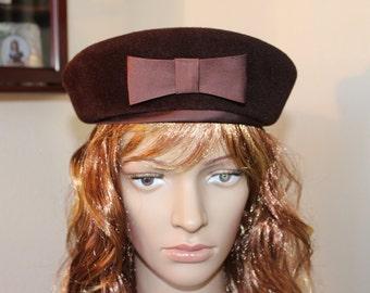 Vintage Hat, Union Made Hat, Pillbox Hat, Beret,  Velour Felt Vintage Hat, Brown Hat, Classic Hat, Church Hat, Elegant Hat, Hat #1