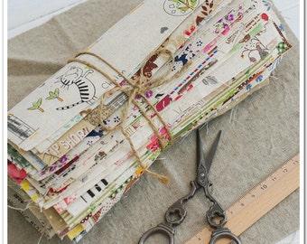 Mixed Cotton Linen Blend Fabric Scraps Bundle Floral for Handmade Beginners 25pcs