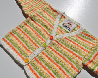 Multicoloured Handknitted Baby Cardigan