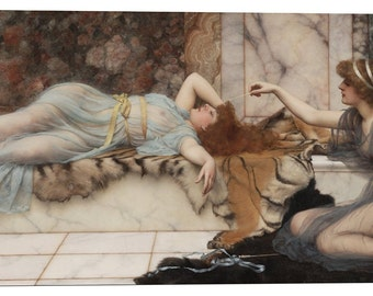 """Epic Graffiti """"Mischief and Repose"""" by John William Godward Giclee Canvas Wall Art, 12"""" x 26"""""""