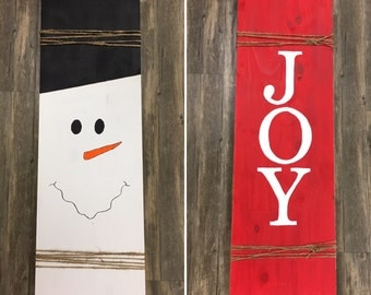 Double Sided Christmas/Winter Wooden Sign - JOY & Snowman - Large