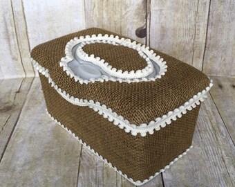 Burlap rustic baby wipe case, flip top, diaper bag, diaper bag, baby shower gift, wipe case