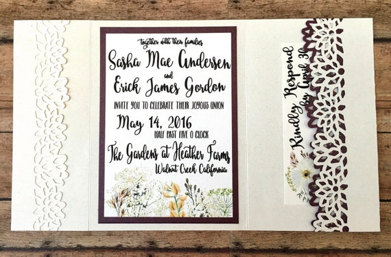 Unique wedding invitation, handmade pocketfold invitation, rustic maroon printed invitation set, country theme wedding, DIY wedding