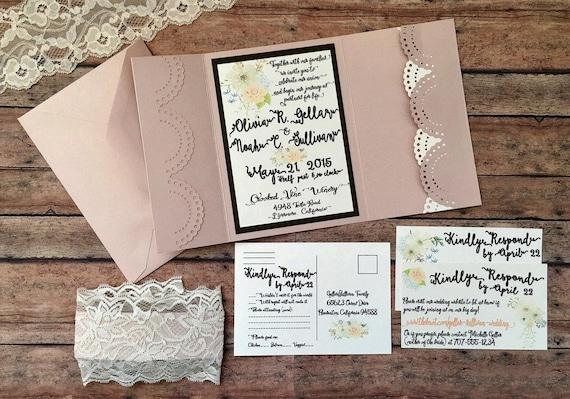 Unique wedding invitation, handmade pocketfold invitation, blush boho printed invitation set with pocket, lace theme wedding, DIY wedding