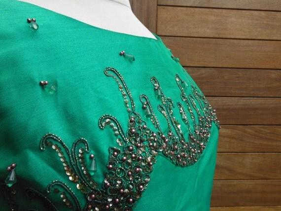Vintage 60s Green Silk Beaded Maxi Dress - Size 12 M