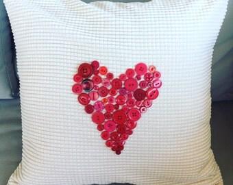 Button love heart cushion