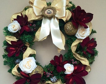 Winter Rose and Cranberry Poinsetta Christmas Wreath