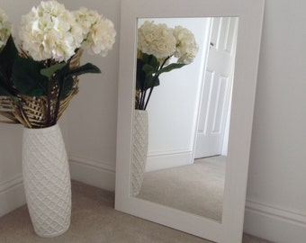White flat wood frame mirror 700 x 400