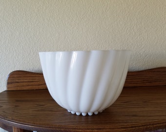 Hazel Atlas Swirl Milk Glass Punch Bowl